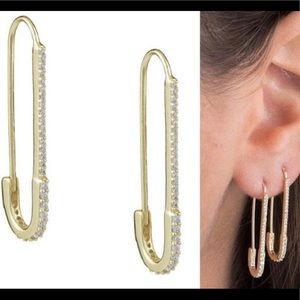CZ Safety Pin Earrings in Gold or Silver, NWT